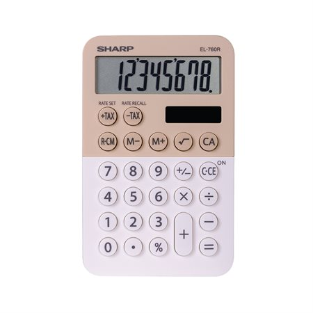 Calculatrice de poche rose et blanc