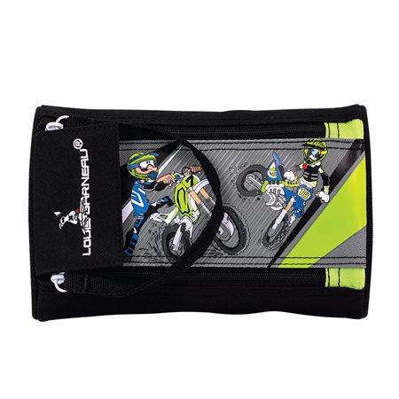 Double Zipper Motocross Pencil Case