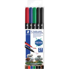 Twin Tip Permanent Marker Package of 5 assorted