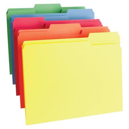 Chemise à dossier de couleur Format lettre couleurs variées