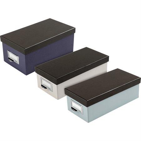 Boîte de rangement pour fiches 3 x 5 po. blanc et noir