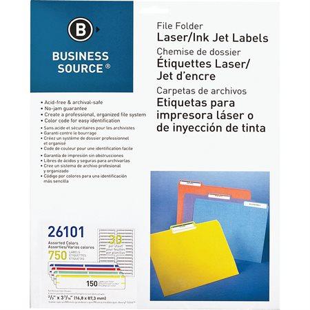 Étiquettes de classement Paquet de 750 couleurs variées