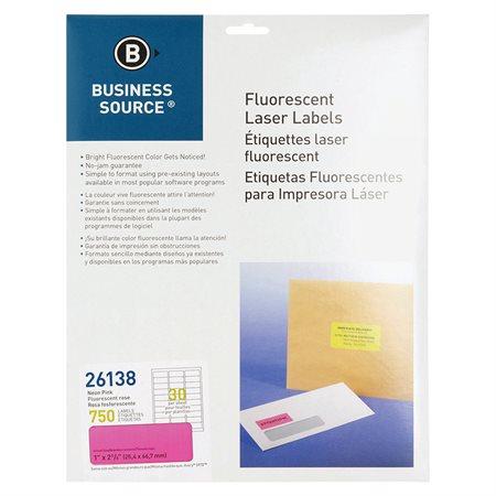 Étiquettes fluorescentes 1 x 2-5 / 8 po. Paquet de 750 rose