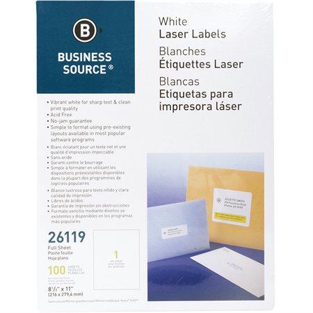 Étiquettes d'adresse premium Paquet de 100 feuilles 8-1 / 2 x 11 po. (100)