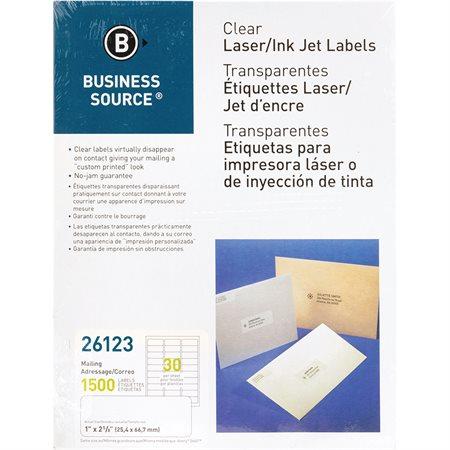 Étiquettes d'adresse transparentes Paquet de 50 feuilles 1 x 2-3 / 4 po. (1500)