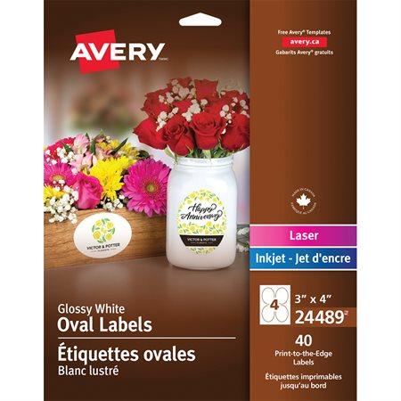 Étiquettes glacées imprimables ovales 3 x 4 po ( pqt 40)