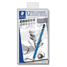 Crayons à dessin Mars Lumograph Ensemble de 12 crayons 6B, 5B, 4B, 3B, 2B, H, HB, F, H, 2H, 3H, 4H