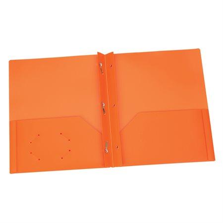 Couverture de présentation en Poly Avec attaches. Capacité de 135 feuilles orange