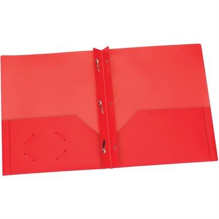 Couverture de présentation en Poly Avec attaches. Capacité de 135 feuilles rouge