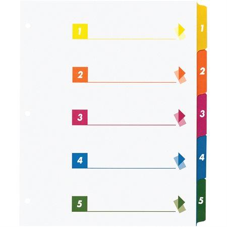 Intercalaires à onglet imprimable 5 onglets 1-5 couleurs varieés. 24 jeux