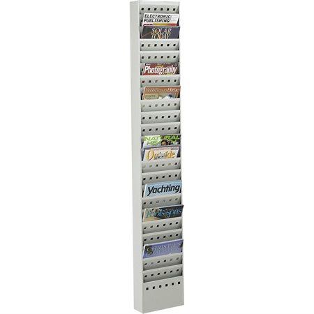 Porte-revues en acier 23 pochettes - 10 x 4 x 65 1 / 2 po H gris