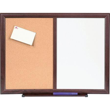 Tableaux combinés en liège et effaçable à sec Cadre acajou 18 x 24 po