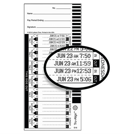 E16 Tru-Align Time Cards