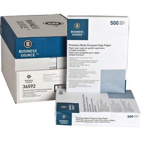 Papier photocopie BUSINESS SOURCE® Boîte de 5000 (10 paquets de 500) lettre, 3 trous