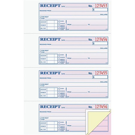 Carnet de reçus monétaire avec bande autocollante