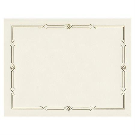Certificats de lin avec feuille d'or cadre dorée mince