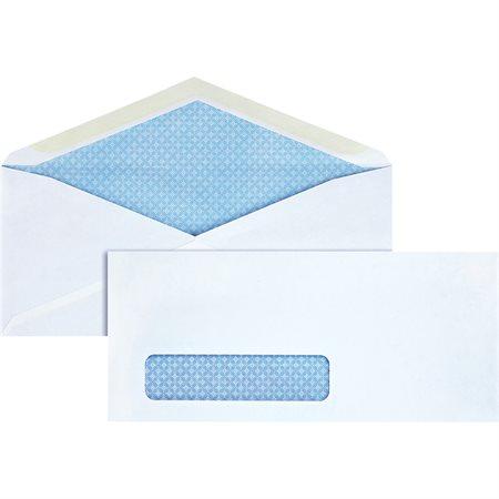 Enveloppe blanche Confidentielle. Rabat en V. Avec fenêtre. #9. 4-1 / 8 x 9-1 / 2 po.