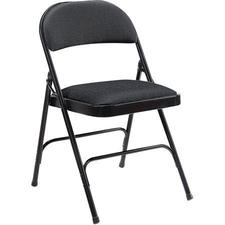 Chaise pliante en métal Dossier et siège rembourrés noir (bte 4)
