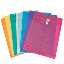 Enveloppe en polyéthylène translucide 9-3/4 x 13-1/2 po. Ouverture verticale. couleurs variées