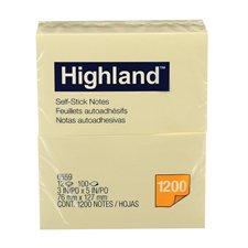 Feuillets autoadhésifs Highland™ Jaune 3 x 5 po.
