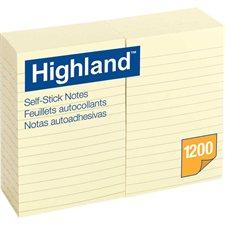 Feuillets autoadhésifs Highland™ Jaune, ligné. 4 x 6 po.