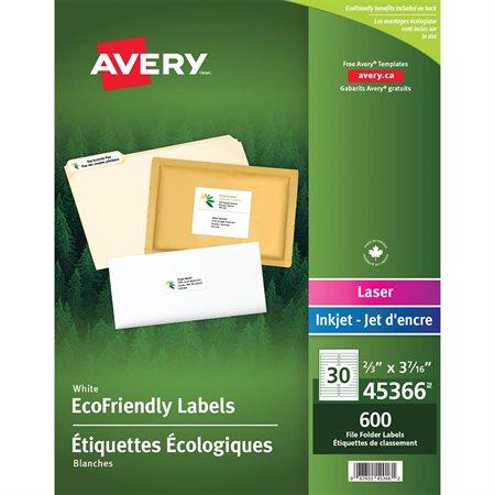 Étiquettes pour chemise écologiques pqt 600