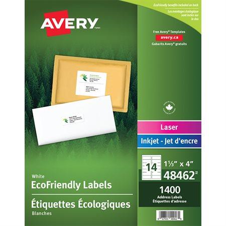 Étiquettes d'adresse blanches Écologiques