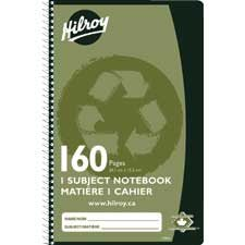 "Cahier de notes recyclé 9-1 / 2 x 6"", 160 pages."