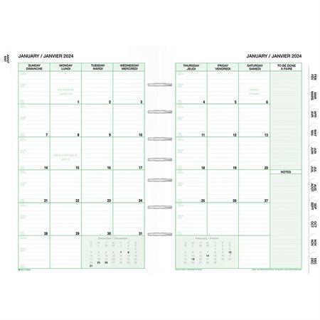 Recharges et accessoires format bureau (2021) Recharges datées. Bilingue. 1 mois / 2 pages