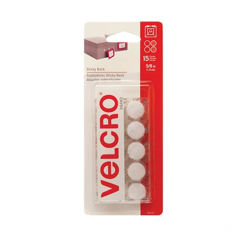 "Attaches Velcro® Ronds, 5 / 8"". Paquet de 15. blanc"