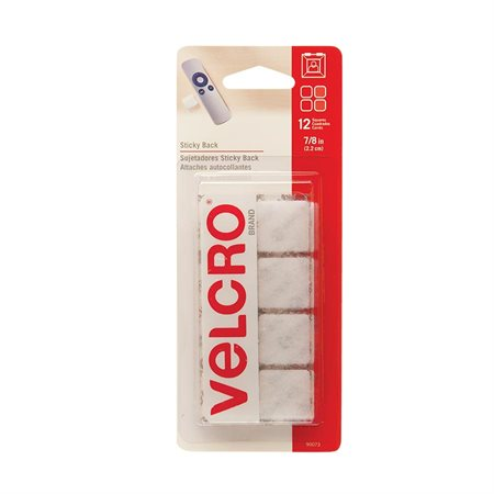 "Attaches Velcro® Carrés, 7 / 8"". Paquet de 12. blanc"