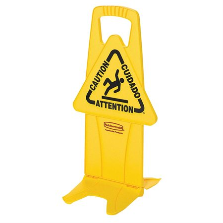 "Stable Safety Sign with Tri-Lingual ""Caution"" Imprint"