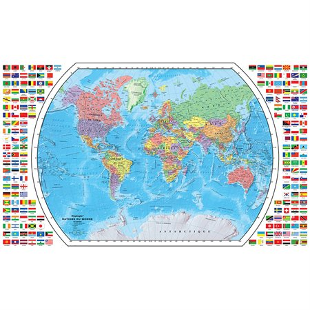 Carte du monde plastifiée français
