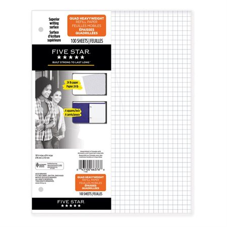 Five Star® Quadruled Loose-Leaf Sheets