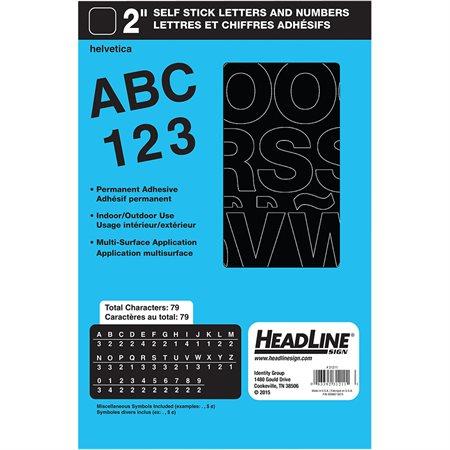 """Lettres et chiffres en vinyle Geosign Lettres noires majuscules 50 mm (2"""")"""