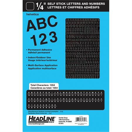 """Lettres et chiffres en vinyle Geosign Chiffres noirs, lettres majuscules et minuscules 6 mm (1 / 4"""")"""