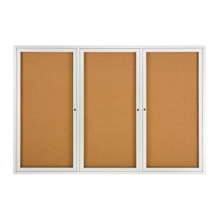 Tableau d'affichage en liège Cadre en aluminium, 3 portes 72 x 48 po