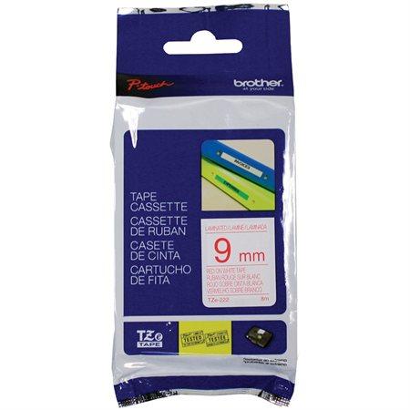 Ruban d'impression P-Touch TZe 9 mm rouge sur blanc