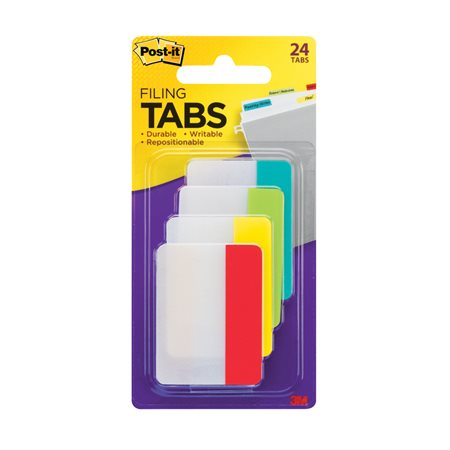 "Post-it® Filing Tabs 2"" wide primary colours"