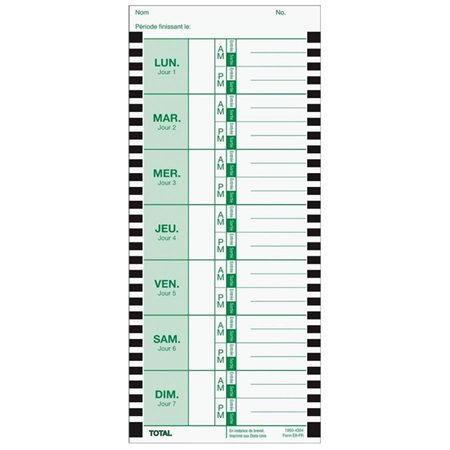 E8 Time Cards French