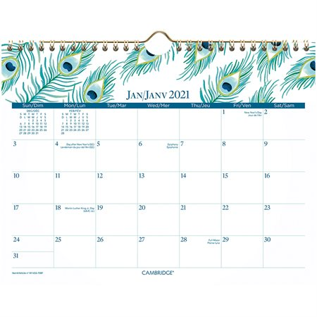 Peacock Collection Wall Calendar (2021)