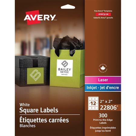 """Étiquettes carrées imprimables Paquet de 300, 12 par feuille. 2 x 2"""""""