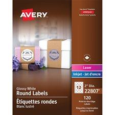 Étiquettes rondes glacées imprimables