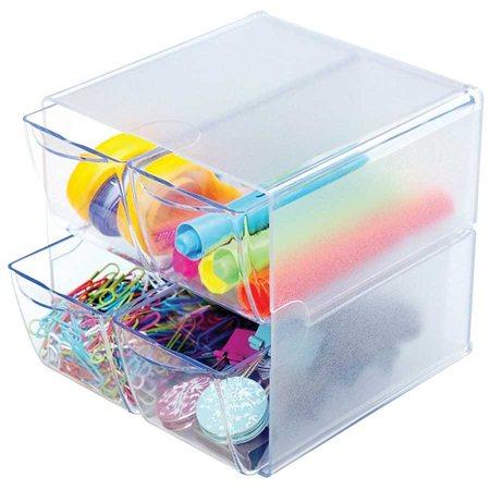 Cube de rangement empilable 4 tiroirs transparent