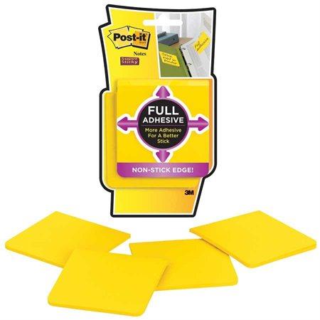 Feuillets entièrement collants Post-it® Super Sticky 3 x 3 po. jaune - paquet de 4