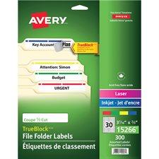 Étiquettes de classement TrueBlock™ Paquet de 300, 10 feuilles. variés