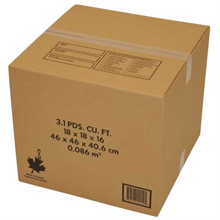 """Boîte d'expédition Pour déménagement. Fabriqué au Canada. 18 x 18 x 16""""H"""