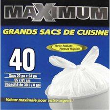 "Sac à ordures de cuisine Maximum 22 x 24"". Boîte de 40."