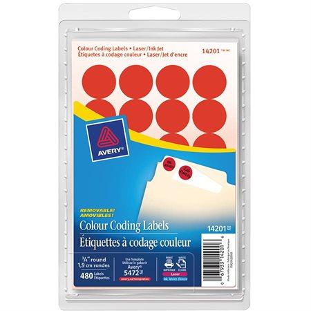 Étiquettes amovibles rondes paquet de 480 rouge