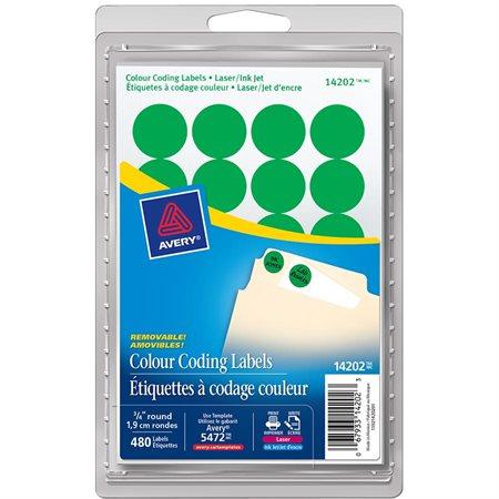Étiquettes amovibles rondes paquet de 480 vert